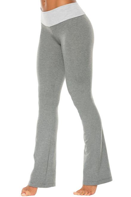Sport Band Bootleg Pants - Contrast on Medium Gray Cotton