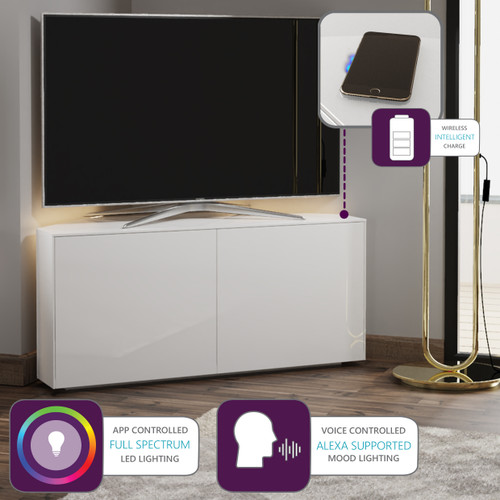 "Frank Olsen INTEL1100LED White Corner TV Cabinet For TVs Up To 50"" with LED Lighting and Alexa Compatibility"