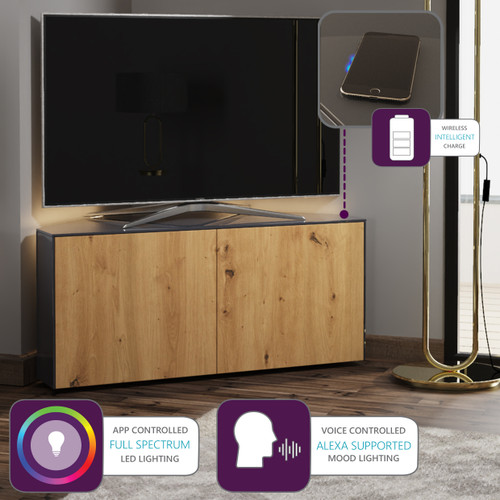 "Frank Olsen INTEL1100LED Grey & Oak Corner TV Cabinet For TVs Up To 50"" with LED Lighting and Alexa Compatibility"