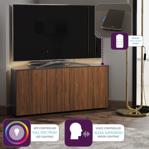 "Frank Olsen INTEL1100LED Grey & Walnut Corner TV Cabinet For TVs Up To 50"" with LED Lighting and Alexa Compatibility"