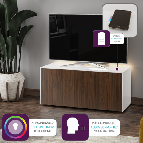 """Frank Olsen INTEL1100LED White & Walnut TV Cabinet For TVs Up To 50"""" with LED Lighting and Alexa Compatibility"""