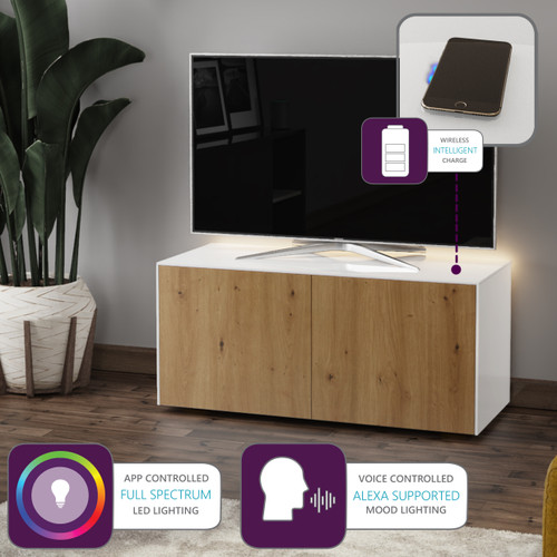 """Frank Olsen INTEL1100LED White & Oak TV Cabinet For TVs Up To 50"""" with LED Lighting and Alexa Compatibility"""