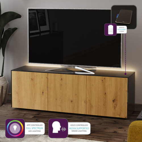 "Frank Olsen INTEL1500LED Black & Oak TV Cabinet For TVs Up To 70"" with LED Lighting and Alexa Compatibility"