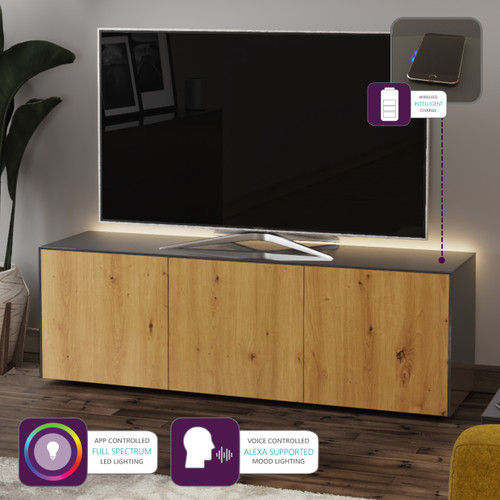 "Frank Olsen INTEL1500LED Grey & Oak TV Cabinet For TVs Up To 70"" with LED Lighting and Alexa Compatibility"