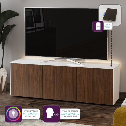 "Frank Olsen INTEL1500LED White & Walnut TV Cabinet For TVs Up To 70"" with LED Lighting and Alexa Compatibility"