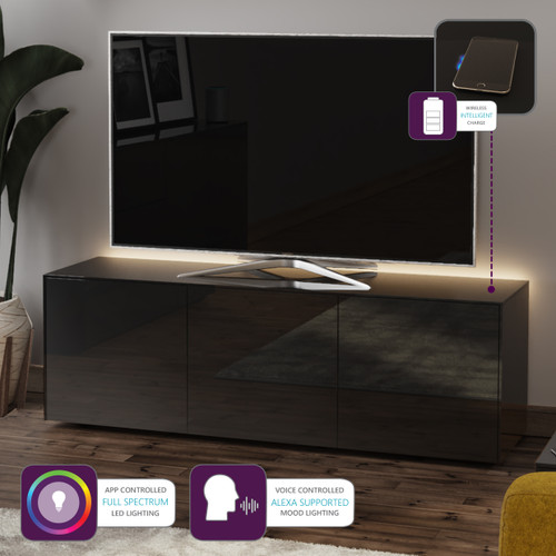"""Frank Olsen INTEL1500LED Black TV Cabinet For TVs Up To 70"""" with LED Lighting and Alexa Compatibility"""