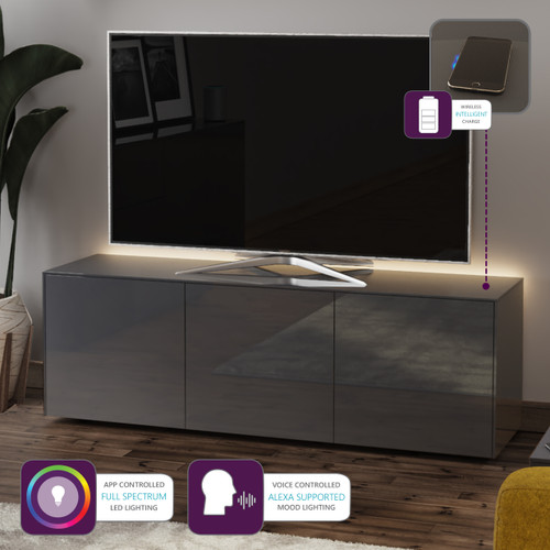 """Frank Olsen INTEL1500LED Grey TV Cabinet For TVs Up To 70"""" with LED Lighting and Alexa Compatibility"""