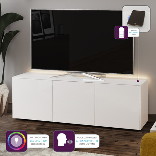 "Frank Olsen INTEL1500LED White TV Cabinet For TVs Up To 70"" with LED Lighting and Alexa Compatibility"