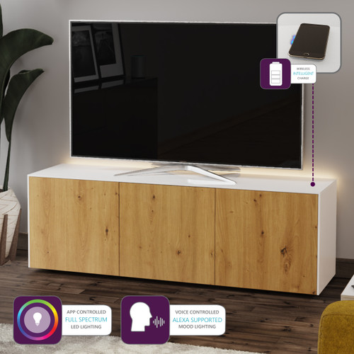 "Frank Olsen INTEL1500LED White & Oak TV Cabinet For TVs Up To 70"" with LED Lighting and Alexa Compatibility"