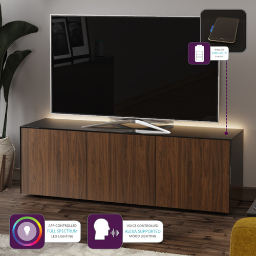 "Frank Olsen INTEL1500LED Black & Walnut TV Cabinet For TVs Up To 70"" with LED Lighting and Alexa Compatibility"