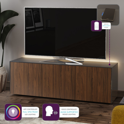 "Frank Olsen INTEL1500LED Grey & Walnut TV Cabinet For TVs Up To 70"" with LED Lighting and Alexa Compatibility"