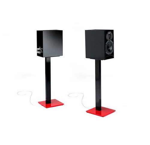 Pair Of Black/Red Norstone ESSESTAND Speaker Stands 34kg Speakers