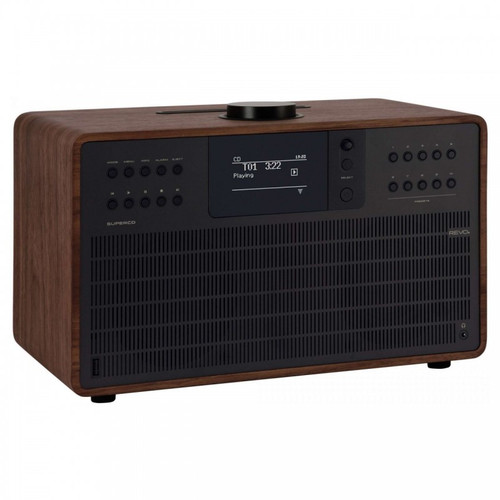 REVO SuperCD DAB+ FM Radio with Bluetooth Internet USB Walnut/Black Front Side View