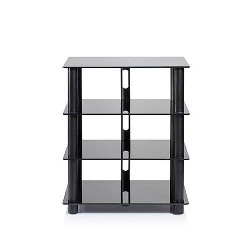NorStone Epur 4 Black 4 Shelf Glass & Steel Modern HiFi Stand