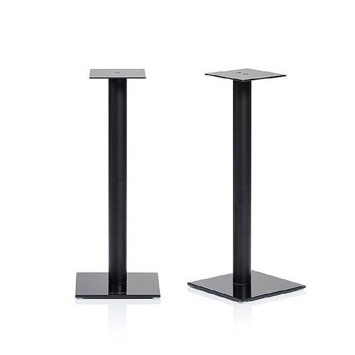 Pair of NorStone Epur 600mm High Black Glass & Brushed Steel Speaker Stands