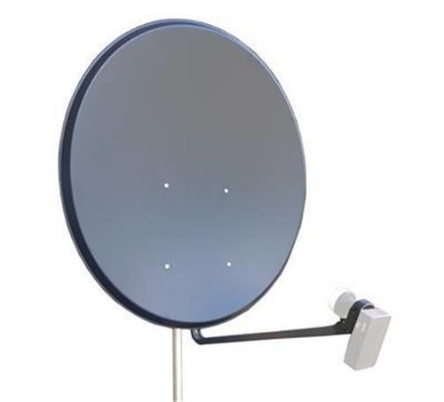 60cm Solid Steel Dark Grey Satellite Dish, Wall Mount & Quad LNB