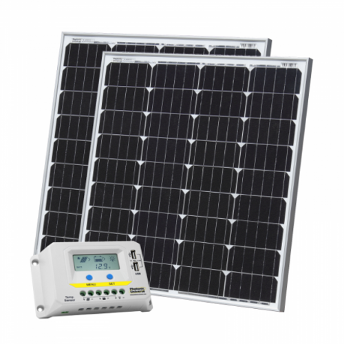 160W (80W+80W) SOLAR CHARGING KIT WITH 20A CHARGE CONTROLLER WITH LCD DISPLAY AND 2 X 5M CABLES