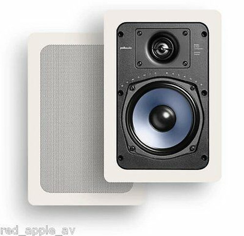Pair of Polk RC65i Mid Size In Wall 100w Speakers, White Grills (2 speakers)