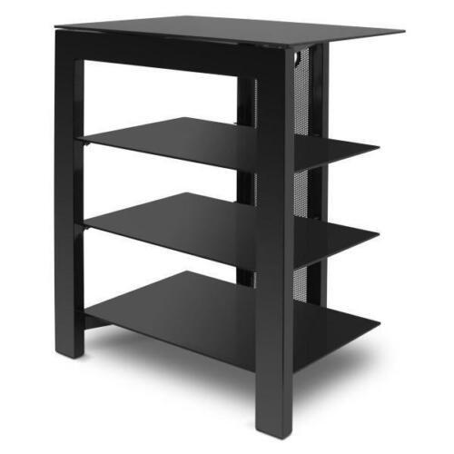 De Conti ARCAXL 4 (500mm) Shelf Hi-Fi Stand In Black with Black Glass Shelves