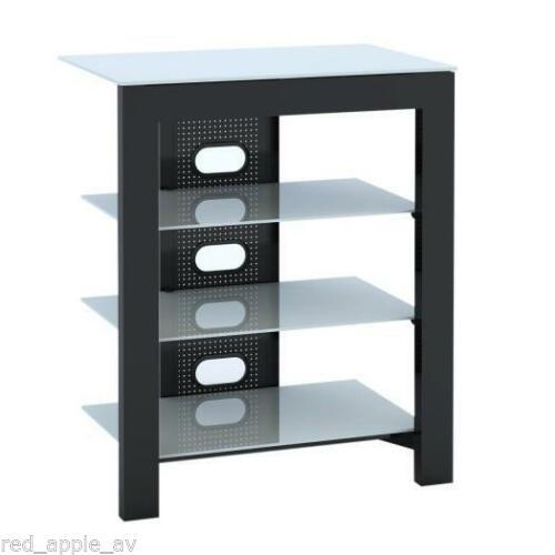 De Conti ARCAXL 4 (500mm) Shelf Hi-Fi Stand In Black with White Glass Shelves