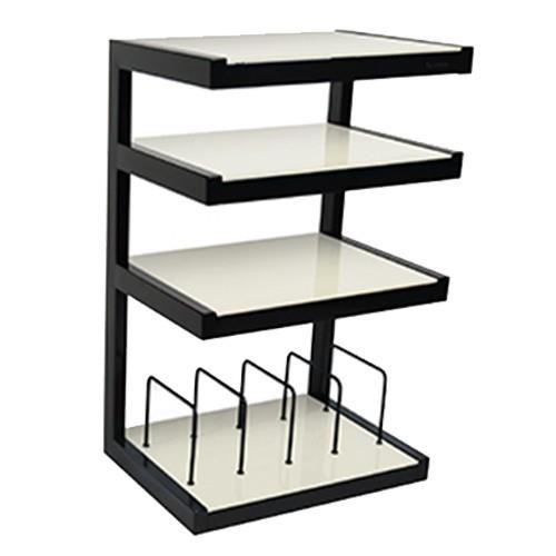 Norstone Esse Hi-Fi Rack / Stand With Vinyl Storage In Black & Frosted, Black & Back Gass or Black & Red Glass Shelves