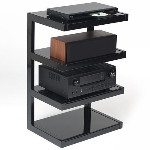 Norstone ESSE HiFi Rack In Black & Red Glass or Black & Black Glass With 4 Shelves