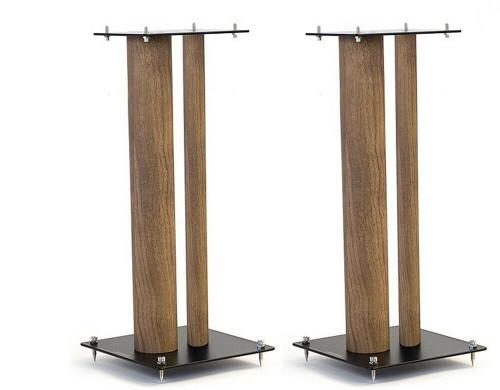 Pair Of Norstone Stylum 2 60cm High Steel Loudspeakers Stands In White, Black or Black/Oak