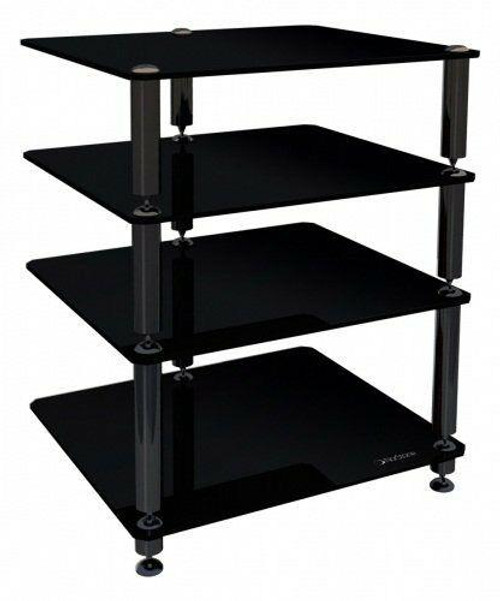 Norstone Bergen 2 Hi Fi AV Component Rack / Stand in Black With 4 Glass Shelves