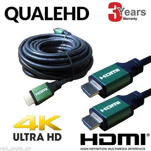 QualeHD HDMI Lead v2.0 2160p 4K UHD With Red, Blue or Green Connector 10m, 5m, 3m or 1m