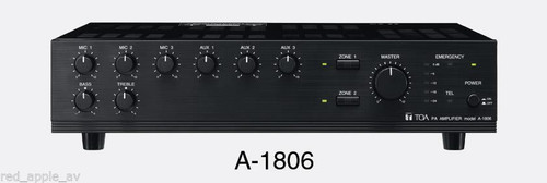 TOA Electronics A-1806 Professional 60W 6 Input 2 Zone Mixer Power Amplifier