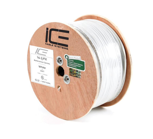 152.5m 2 Core Drum White Direct Burial 16AWG Loud Speaker Pro Installer Cable