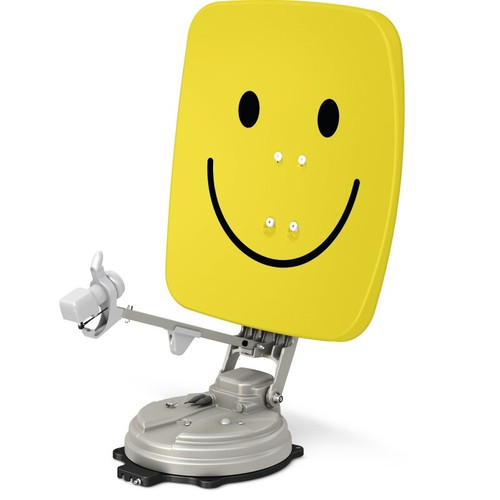 TechniSat SKYRIDER 65cm Twin LNB Smiley Face Yellow or Polar White Fully Automatic Foldable Satellite Dish
