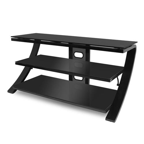 De Conti Sette TV Stand - Black With White Glass or Black & Black Glass
