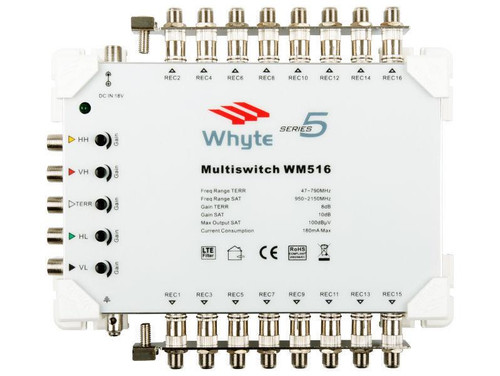 WHYTE Series 5 Multiswitch 5 In x 16 Out c/w Output Earth Bars Only
