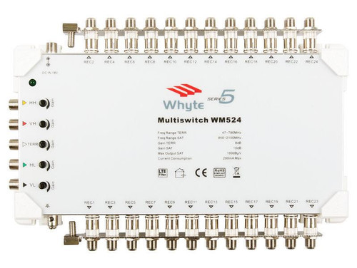 WHYTE Series 5 Multiswitch 5 In x 24 Out c/w Output Earth Bars Only.