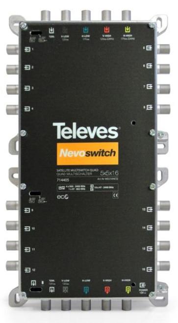 TELEVES Nevo QUAD 5x5x16 CASCADE/TERMINATE c/w 800mA PSU - Receiver or Line Powered