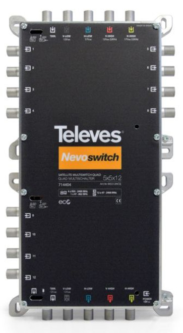 TELEVES Nevo QUAD 5x5x12 CASCADE/TERMINATE c/w 800mA PSU - Receiver or Line Powered