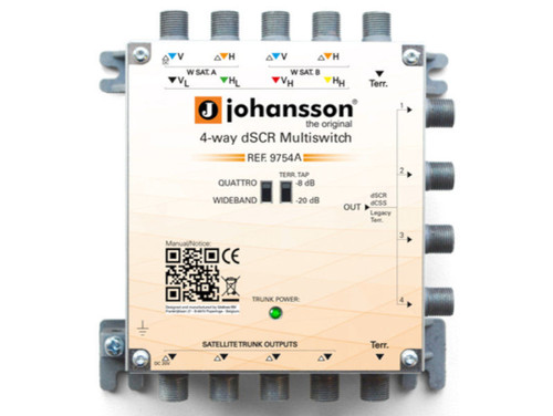 JOHANSSON 4 Way Sky Q™ Multiswitch Active, Terrestrial Cascade 5 In 4 Out dSCR/Legacy