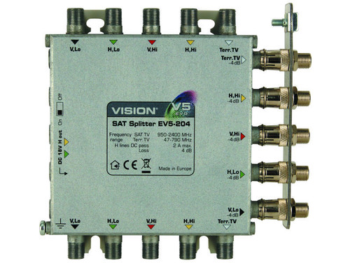 VISION EV5-204 Splitter 2-Way 4dB Loss EVO, 5 In 10 Out c/w 1 Output Earth Bar Only