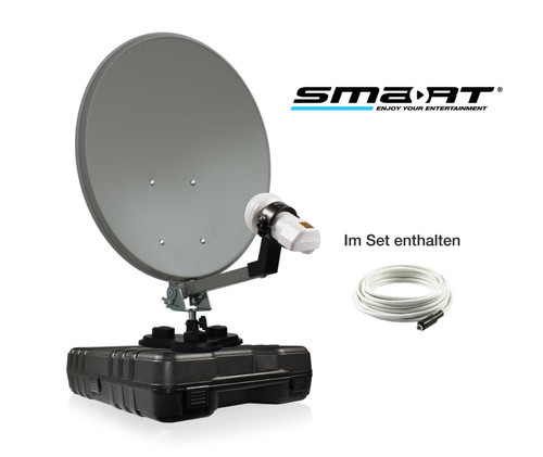 35cm Solid Satellite Dish, LNB, Cable, Suction Cup In Storage Case For Camping Trucks Caravans