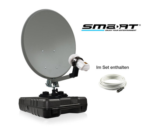 35cm Solid Satellite Dish, 12/240v Satellite Receiver, LNB, Cable, Suction Cup In Storage Case For Camping Trucks Caravans