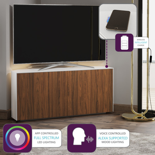 """Frank Olsen INTEL1100LED White & Walnut Corner TV Cabinet For TVs Up To 50"""" with LED Lighting and Alexa Compatibility"""