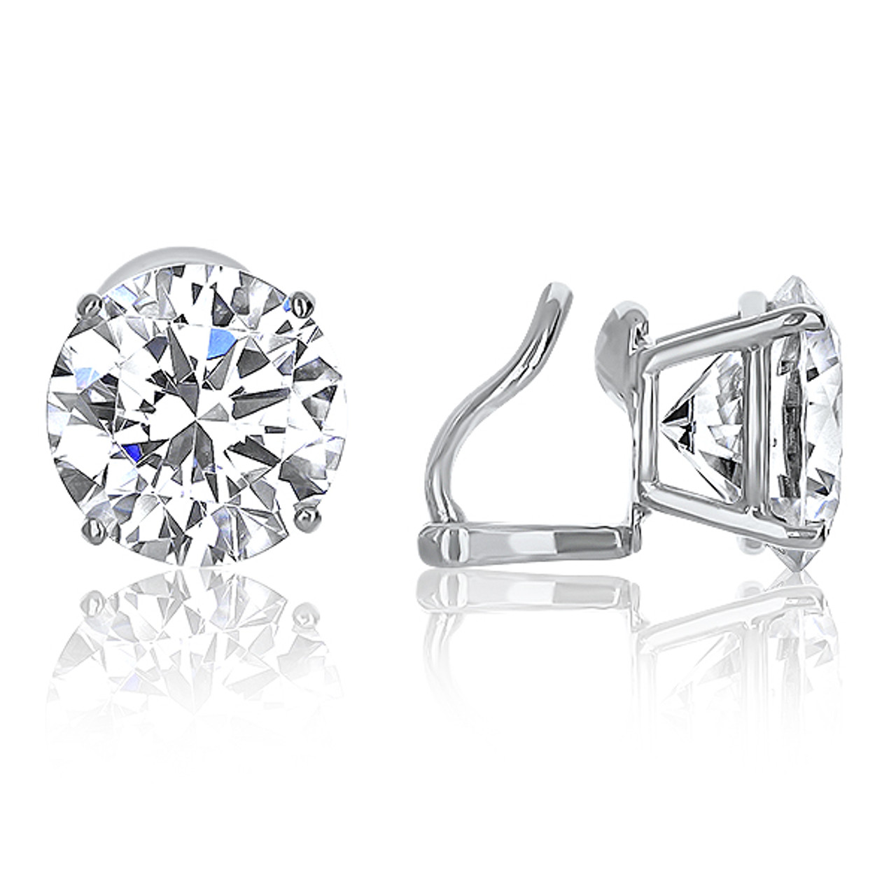1e6169201 Basket Set Round CZ Stud Earrings with Non Pierced Omega Style Clip -  Mystique of Palm Beach