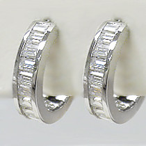 Elle Channel Baguette CZ Huggie Hoop Earrings, 1.5 Carats Total