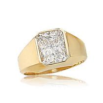 William Bezel Set Emerald Cut Cubic Zirconia Men's Ring