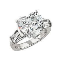 5.5 Carat Heart CZ Double Baguette Solitaire Engagement Ring