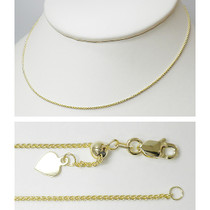 Harmony 14K Gold Adjustable Wheat Chain with Heart Tag