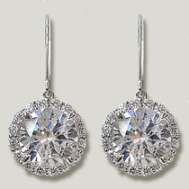 Ella Round with Rounds Halo Eurowire CZ Drop Earrings, 8.0 Ct TW
