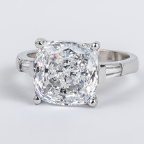 Cushion Cut CZ with Baguettes Solitaire Engagement Ring