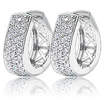 Derby Pave CZ Horseshoe Hoop Earrings, 1.0 Carat Total